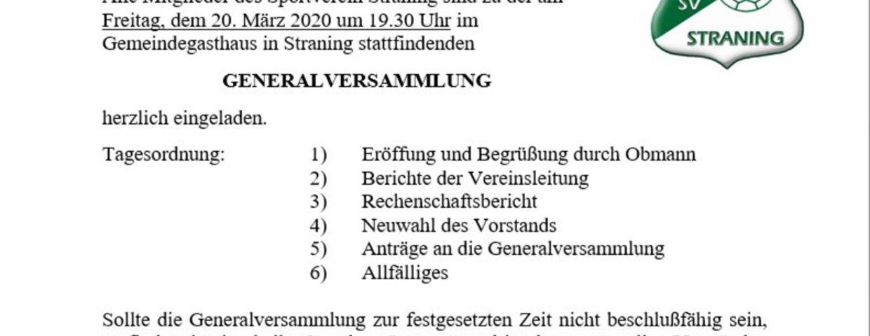Generalversammlung 2020 (wird verschoben)