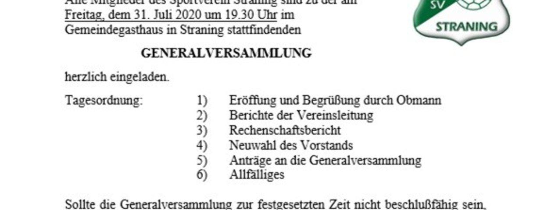 Generalversammlung 31.07.2020